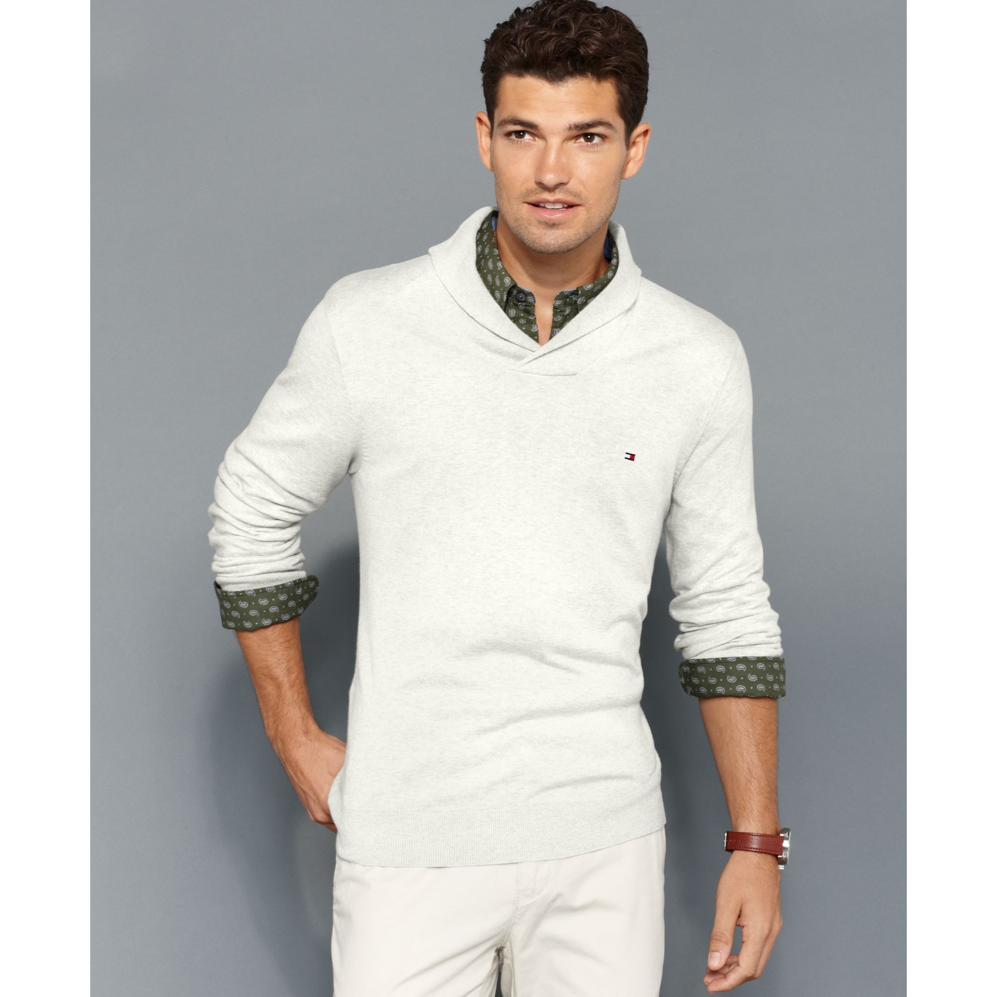 lyst tommy hilfiger american shawl collar sweater in white for men. Black Bedroom Furniture Sets. Home Design Ideas
