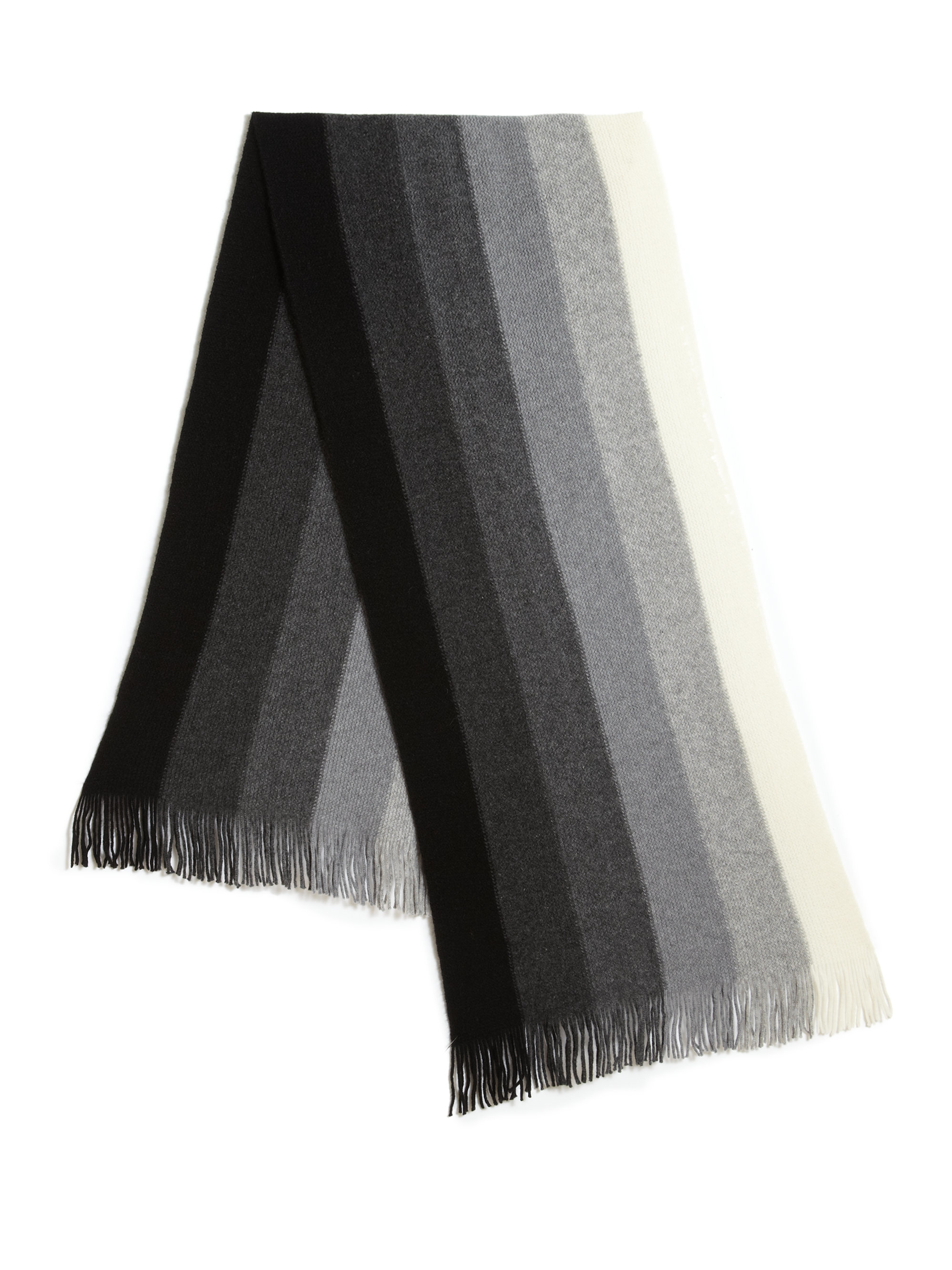 Saks Fifth Avenue Striped Cashmere Scarf In Gray For Men