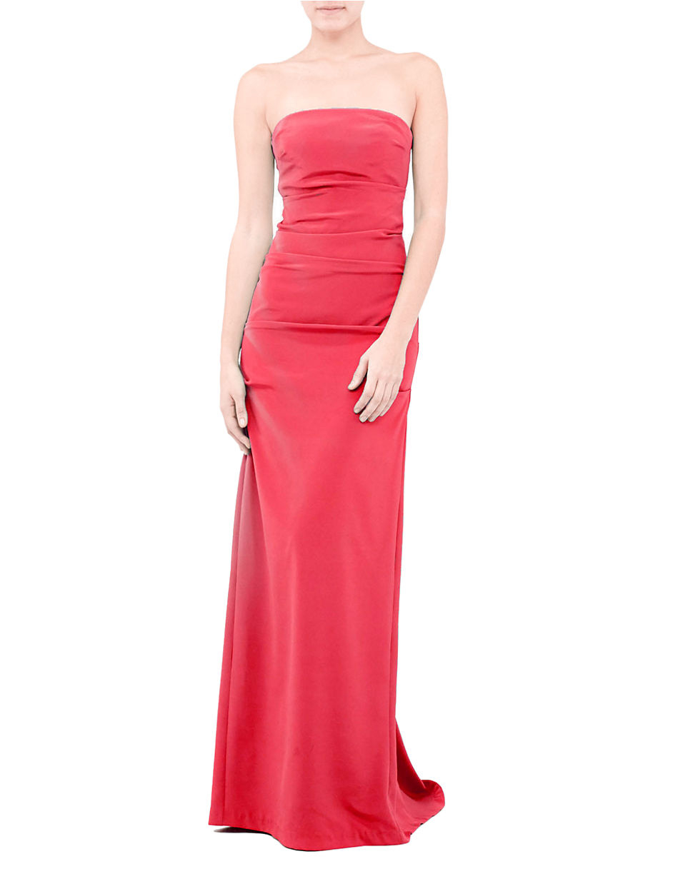 Lyst - Nicole Miller Tuck Strapless Gown in Red
