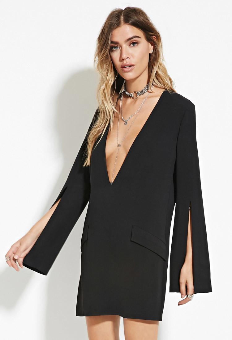 74bf2d9227 Lyst - Forever 21 V-neck Shift Dress in Black