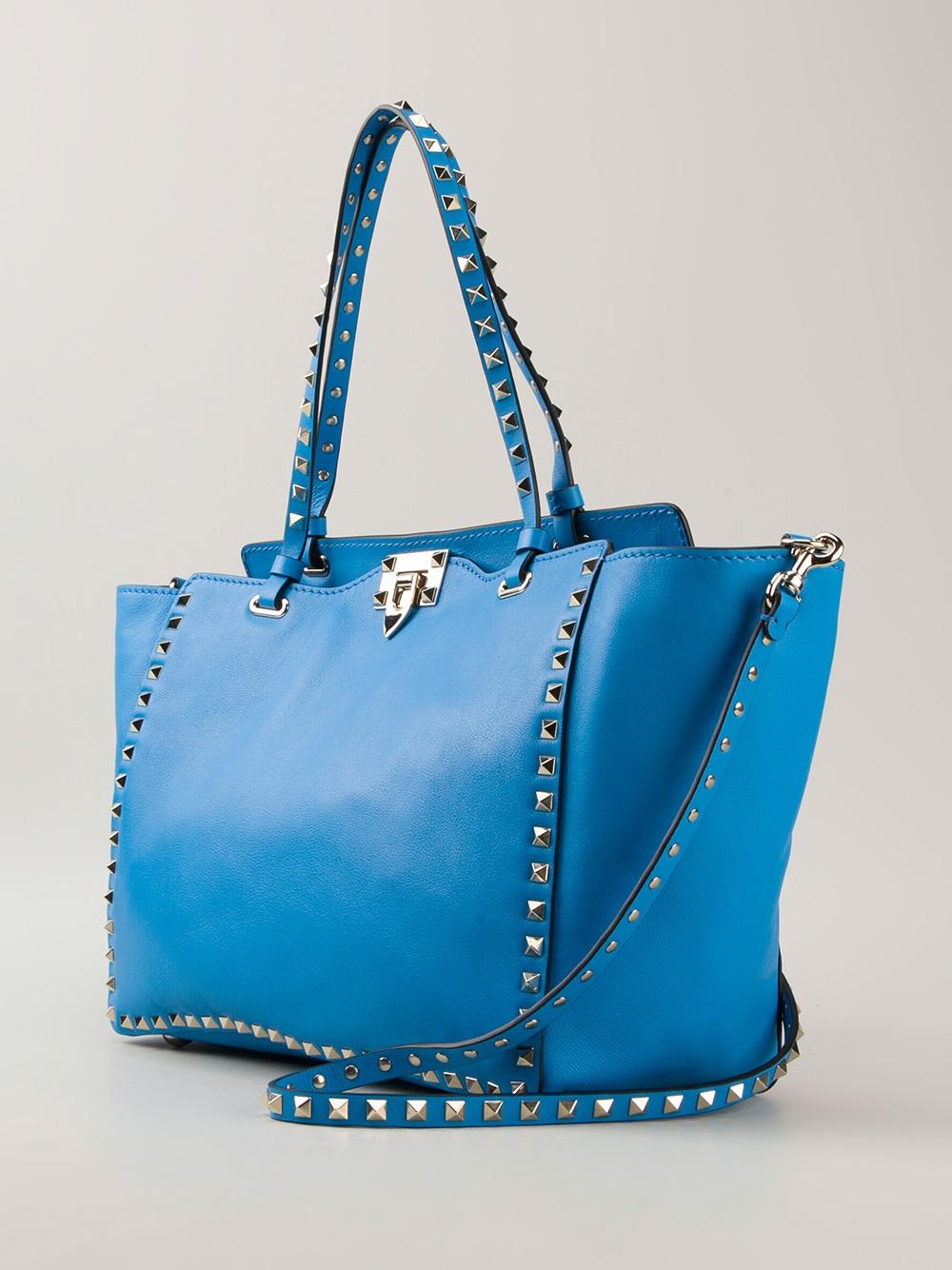 Valentino Rockstud Tote Bag In Blue