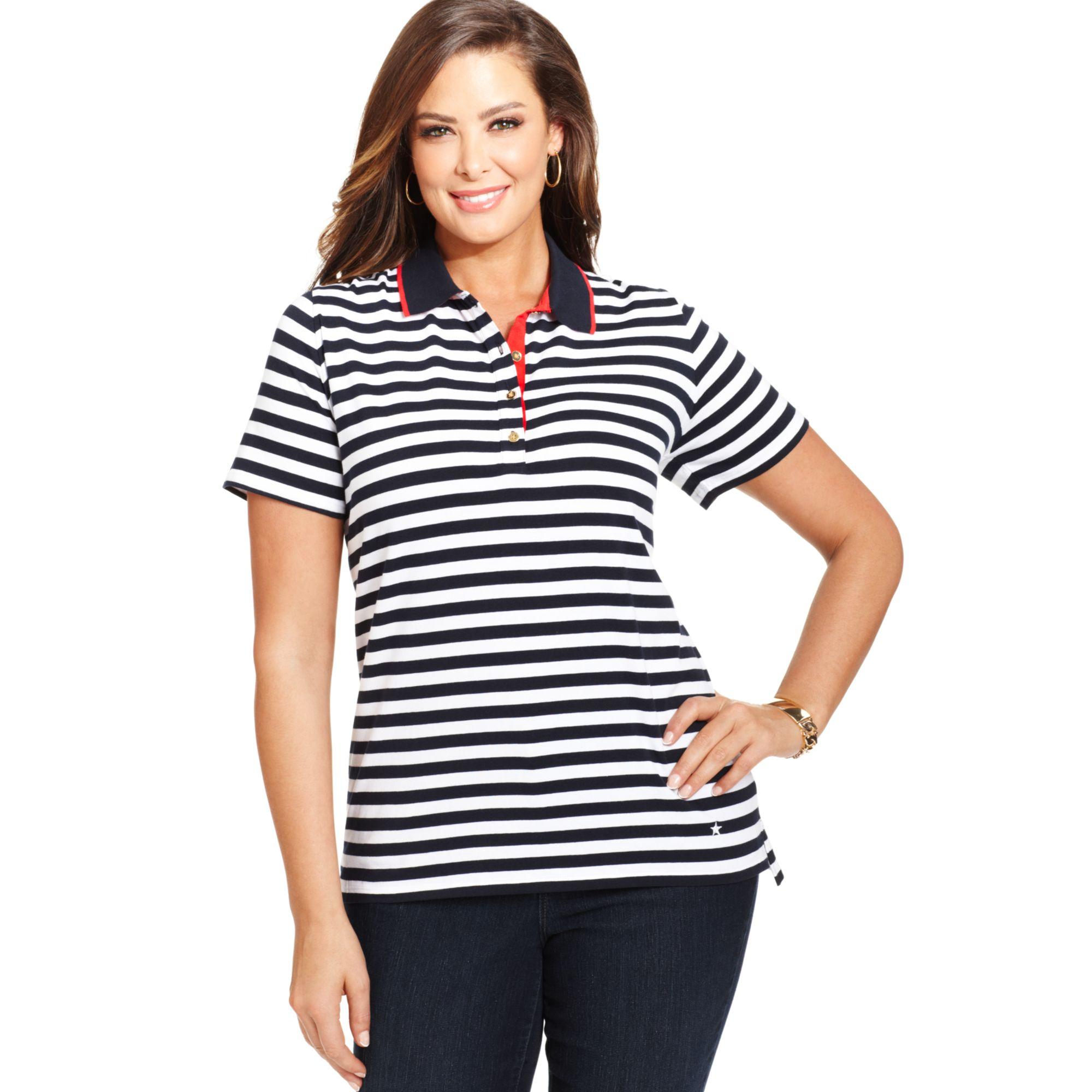 Jones new york signature plus size shortsleeve striped for Plus size polo shirts ladies