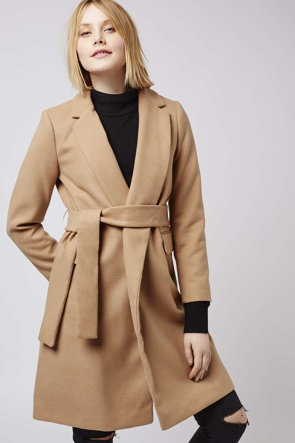 Topshop Petite Belted Coat in Natural | Lyst