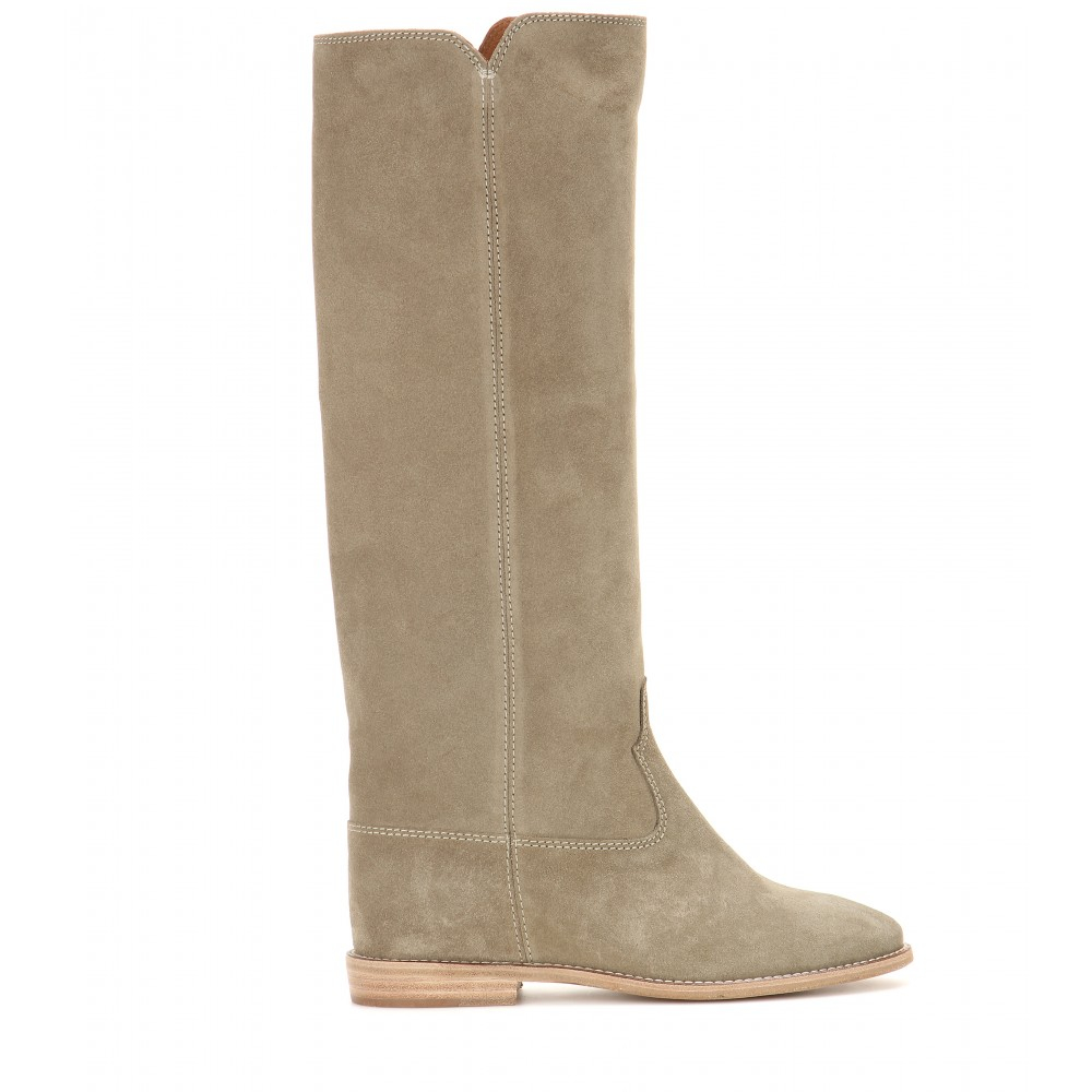 Isabel Marant Cleave Concealed Wedge Suede Boots in Natural