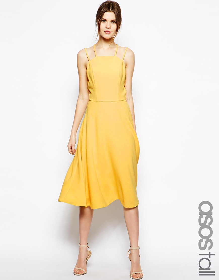 Lyst Asos Summer Picnic Strappy Midi Dress In Yellow