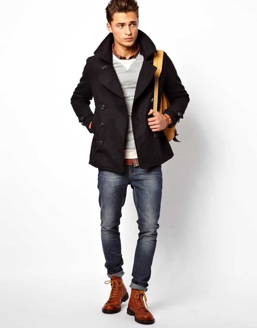 superdry pea coat in slim fit in gray for men greymarl lyst. Black Bedroom Furniture Sets. Home Design Ideas