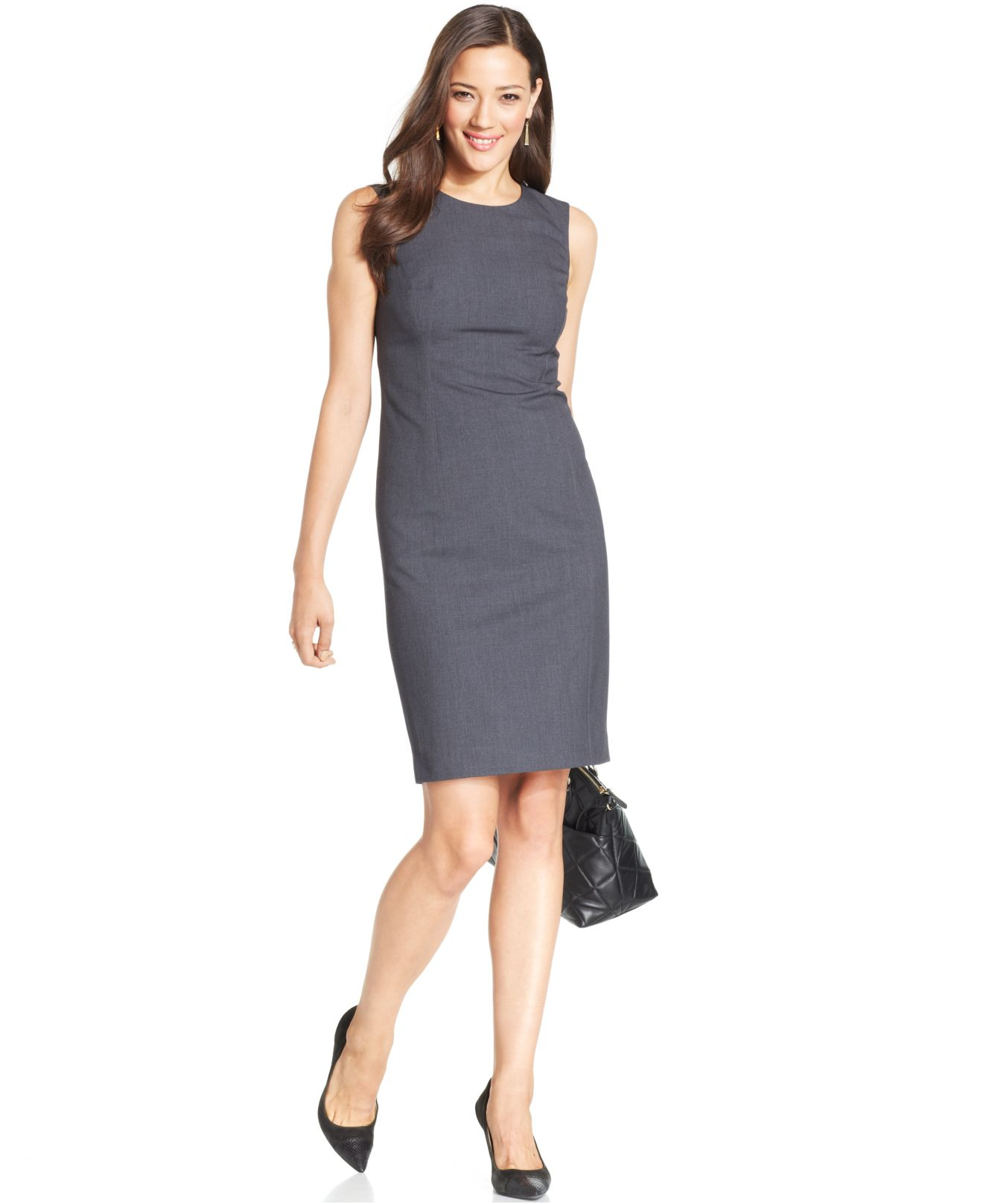 lyst jones new york sleeveless seamed sheath dress in gray. Black Bedroom Furniture Sets. Home Design Ideas