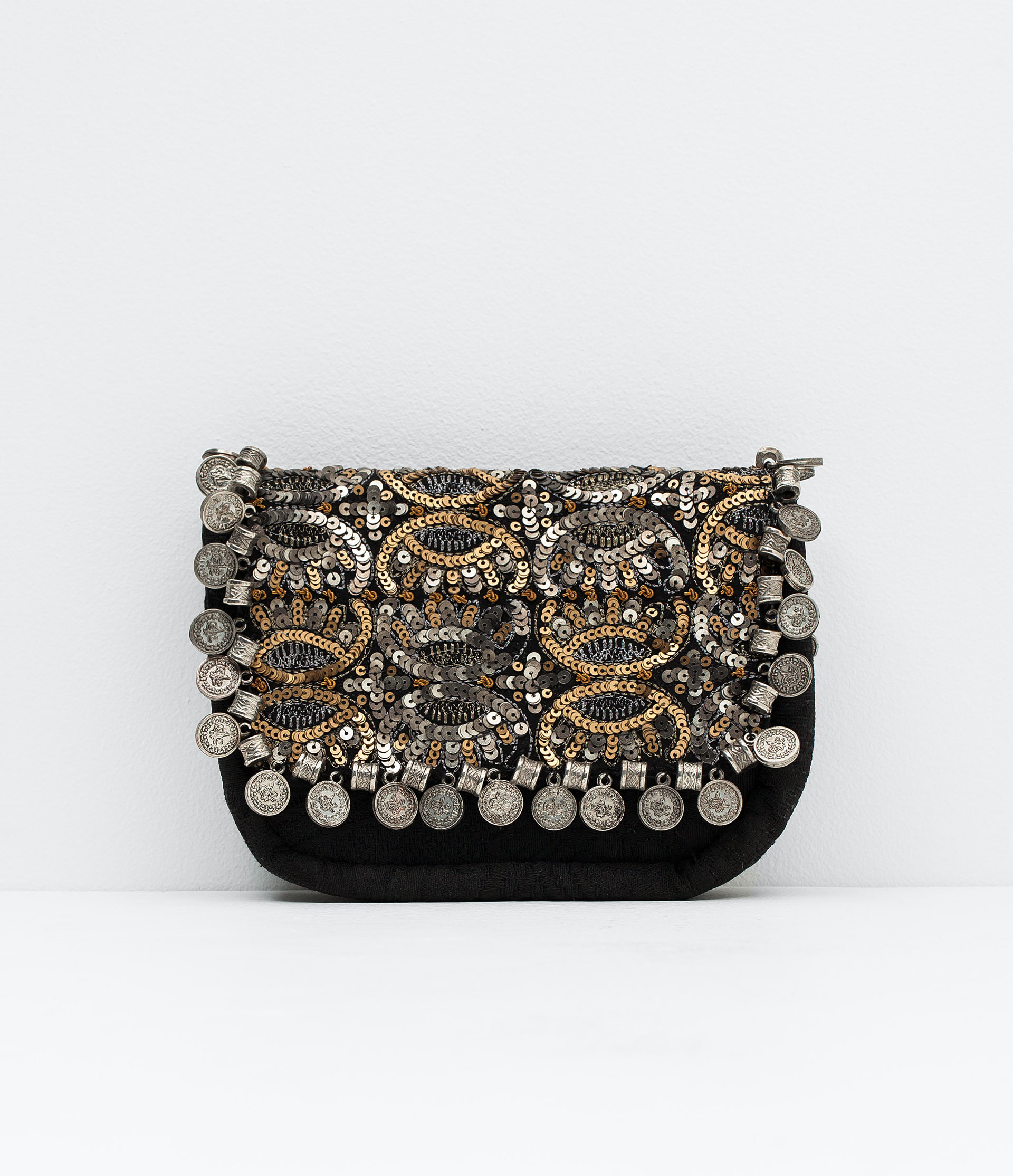 zara embroidered bag in silver only one lyst