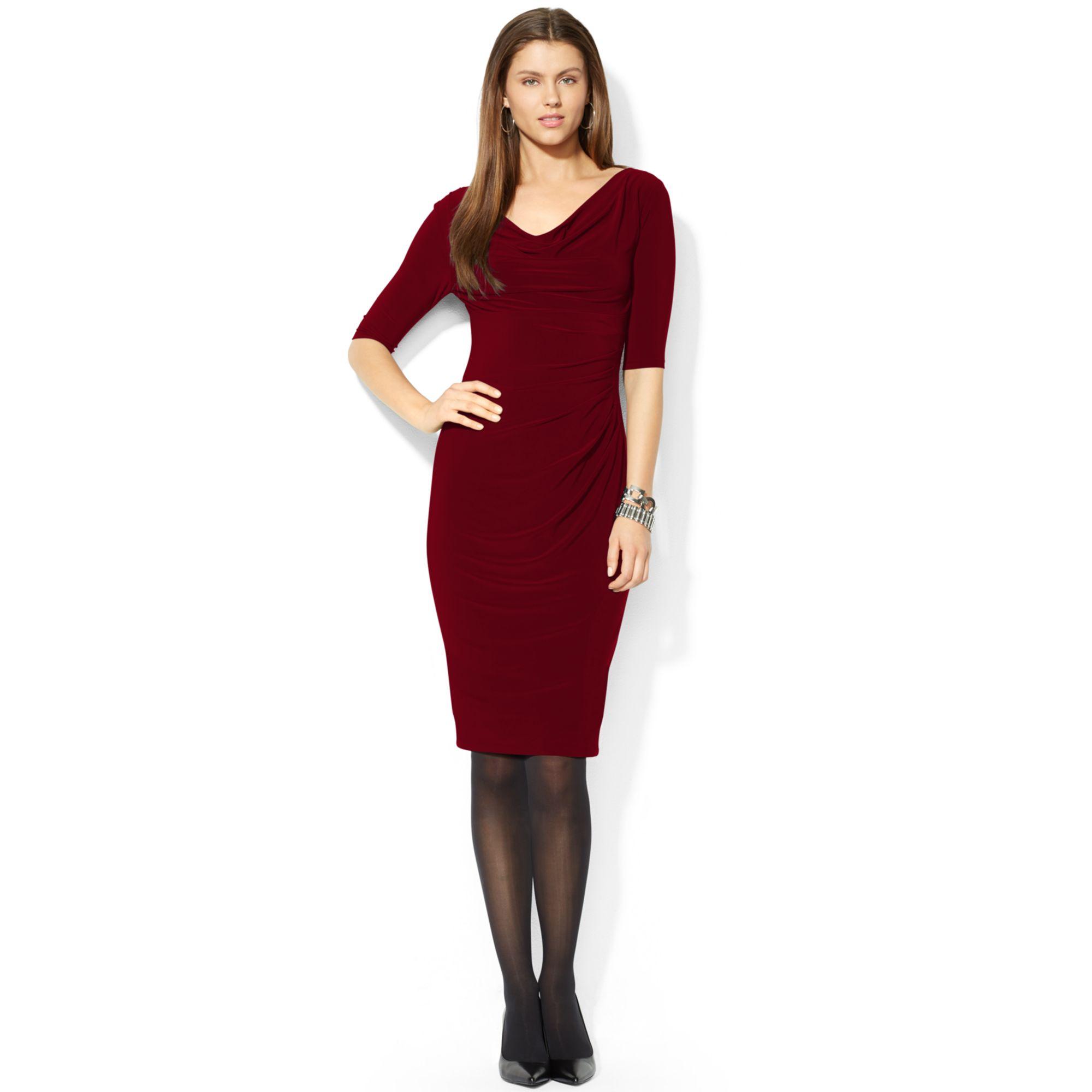 Cowl Neck Sheath Dresses: Lauren By Ralph Lauren Three-quarter-sleeve Cowl-neck