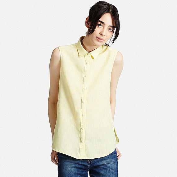 Uniqlo Premium Linen Sleeveless Shirt In Yellow Lyst