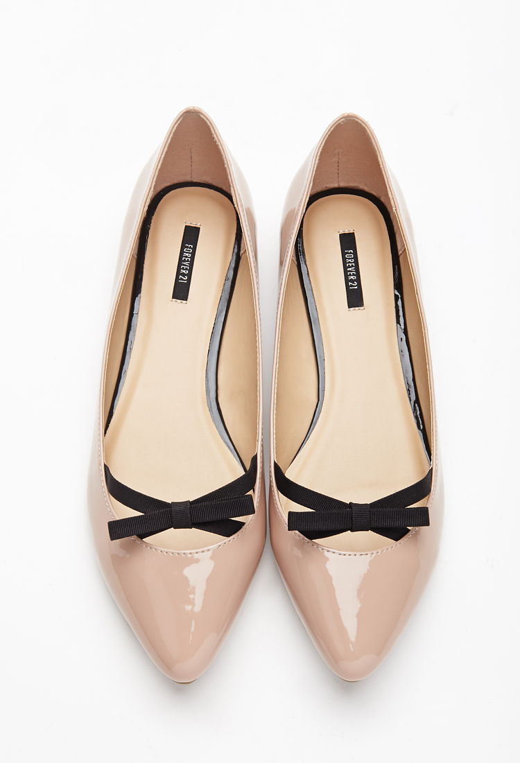 Lyst - Forever 21 Patent Bow Flats in Pink 90d4b6e1e3