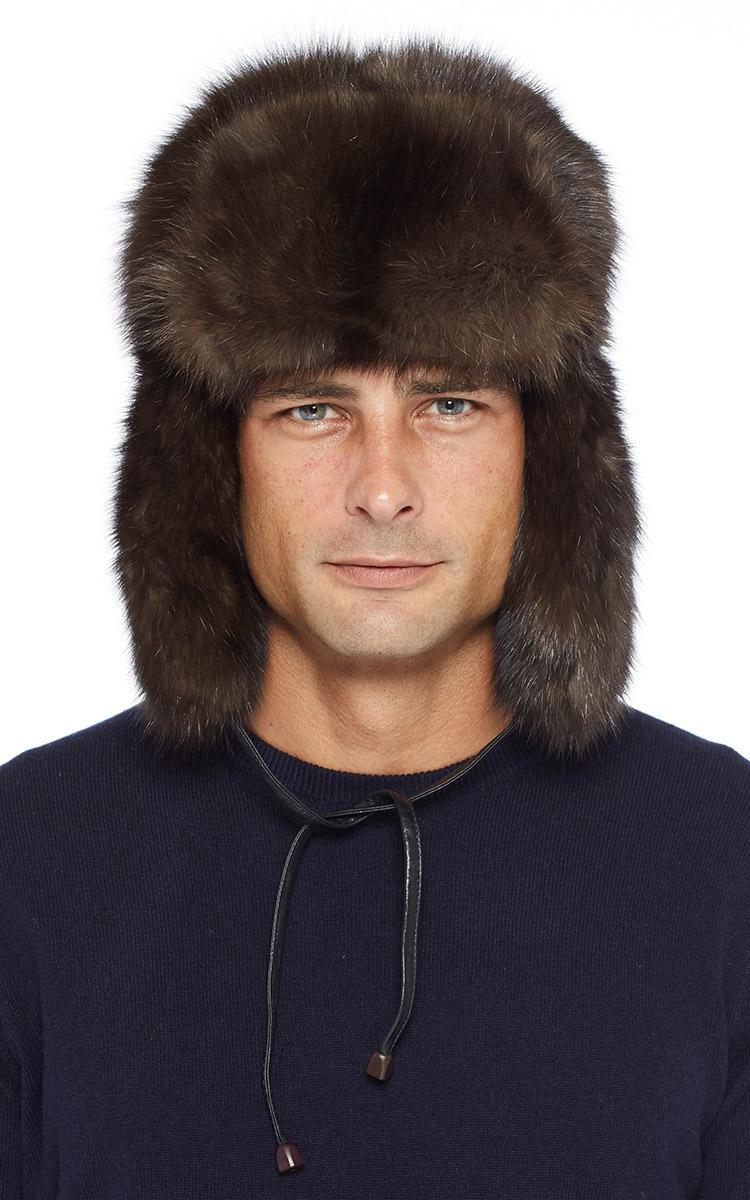 563b4edcb Pologeorgis Brown Natural Russian Barguzine Sable Fur Trapper Hat for men