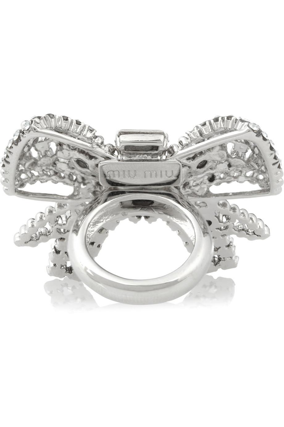 Miu Miu Silver-Plated Swarovski Crystal Bow Ring in Blue