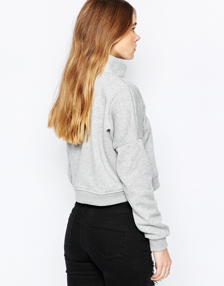 Only Nly High Neck Cropped Jumper in Gray | Lyst