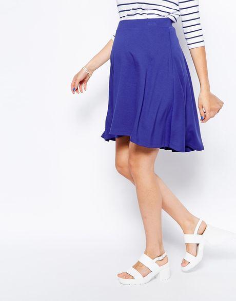 asos maternity midi skater skirt in blue cobalt lyst