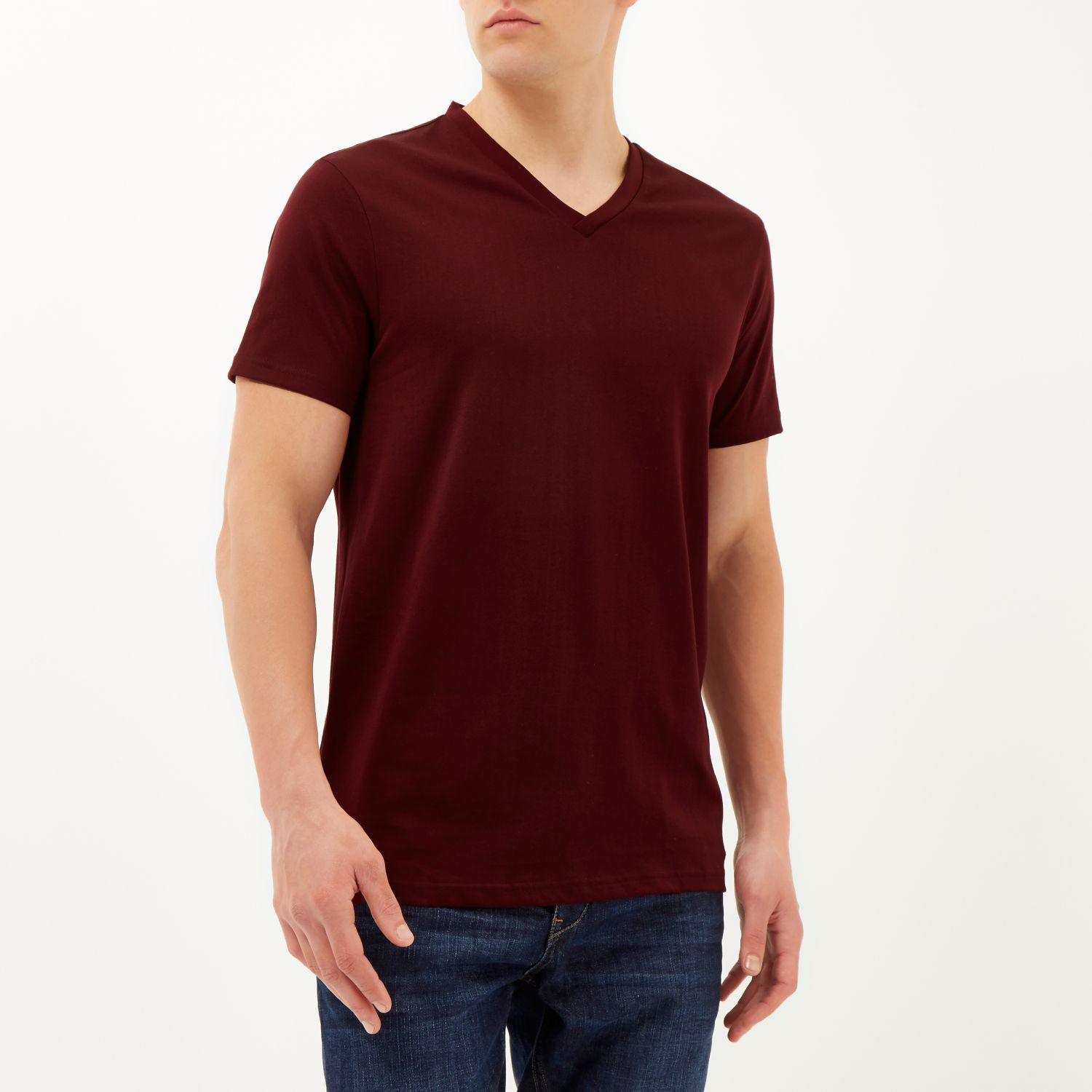 a5d888bae9 River Island Dark Red Premium V-neck T-shirt in Red for Men - Lyst