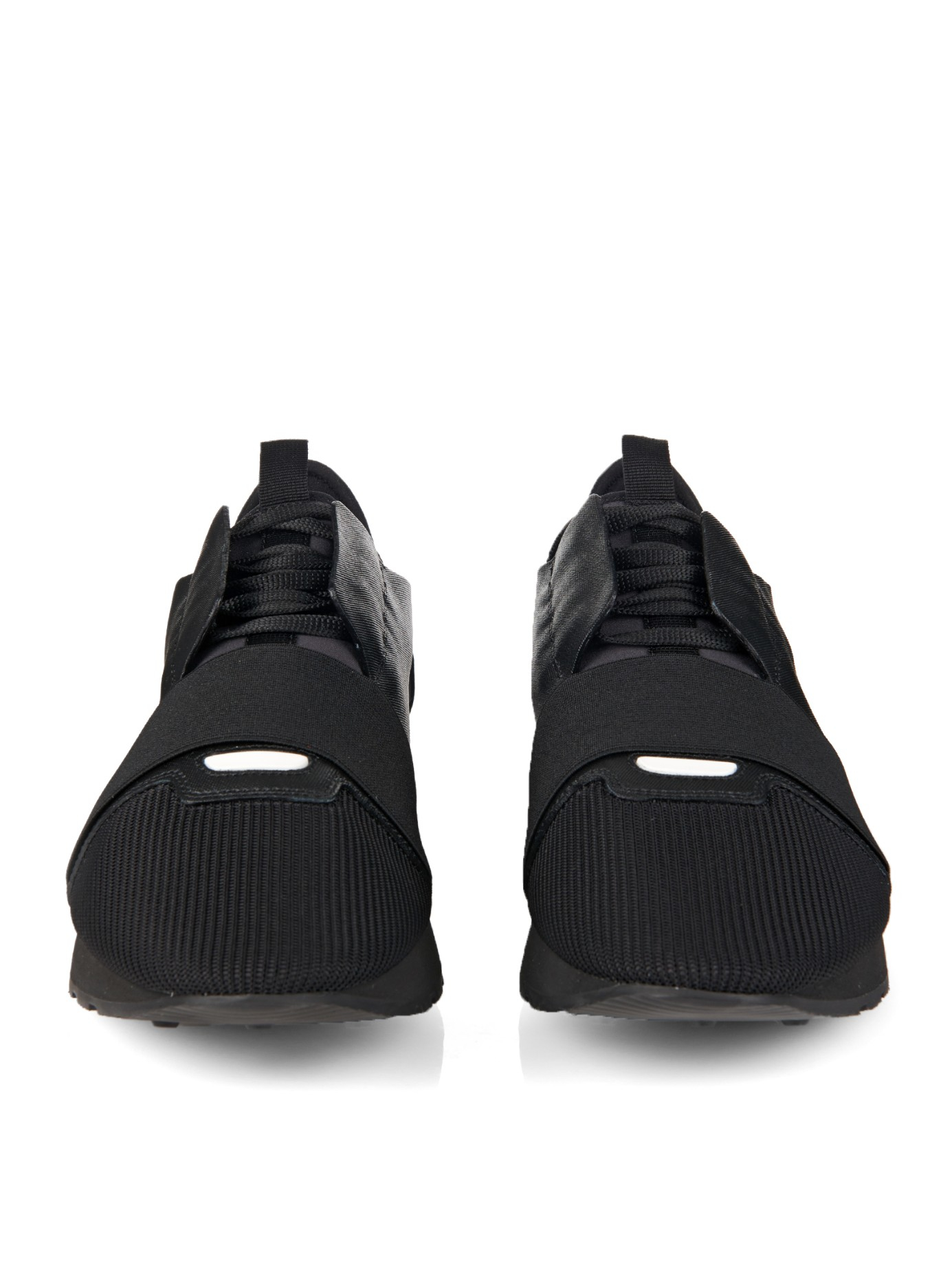 lyst balenciaga leather low top trainers in black for men. Black Bedroom Furniture Sets. Home Design Ideas