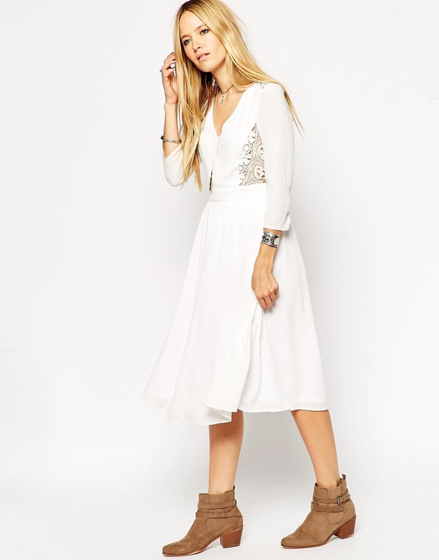 d13b40b6c8 ASOS Midi Skater Dress With Crochet Inserts in White - Lyst
