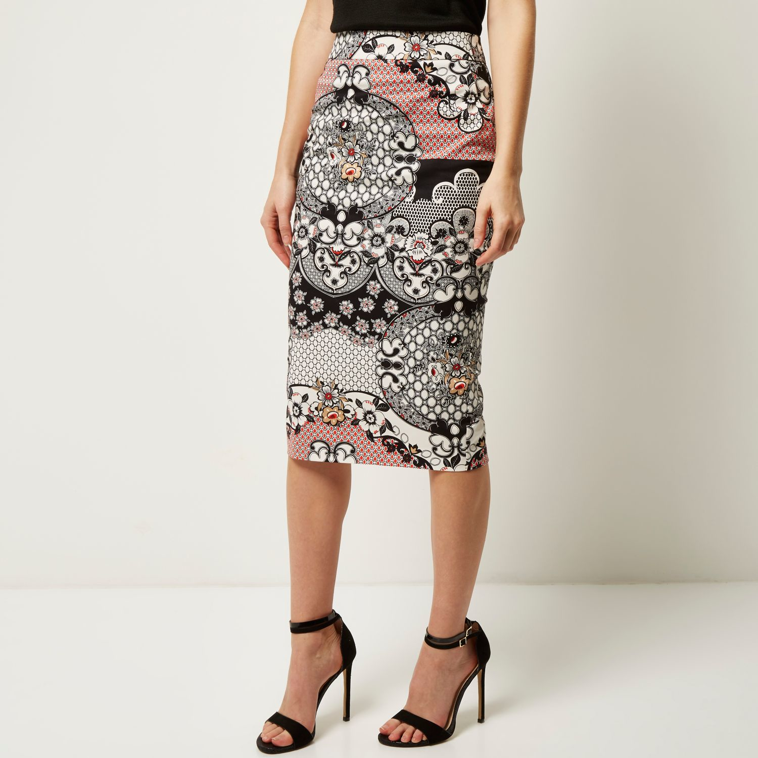 River island Red Floral Print Pencil Skirt in Red | Lyst