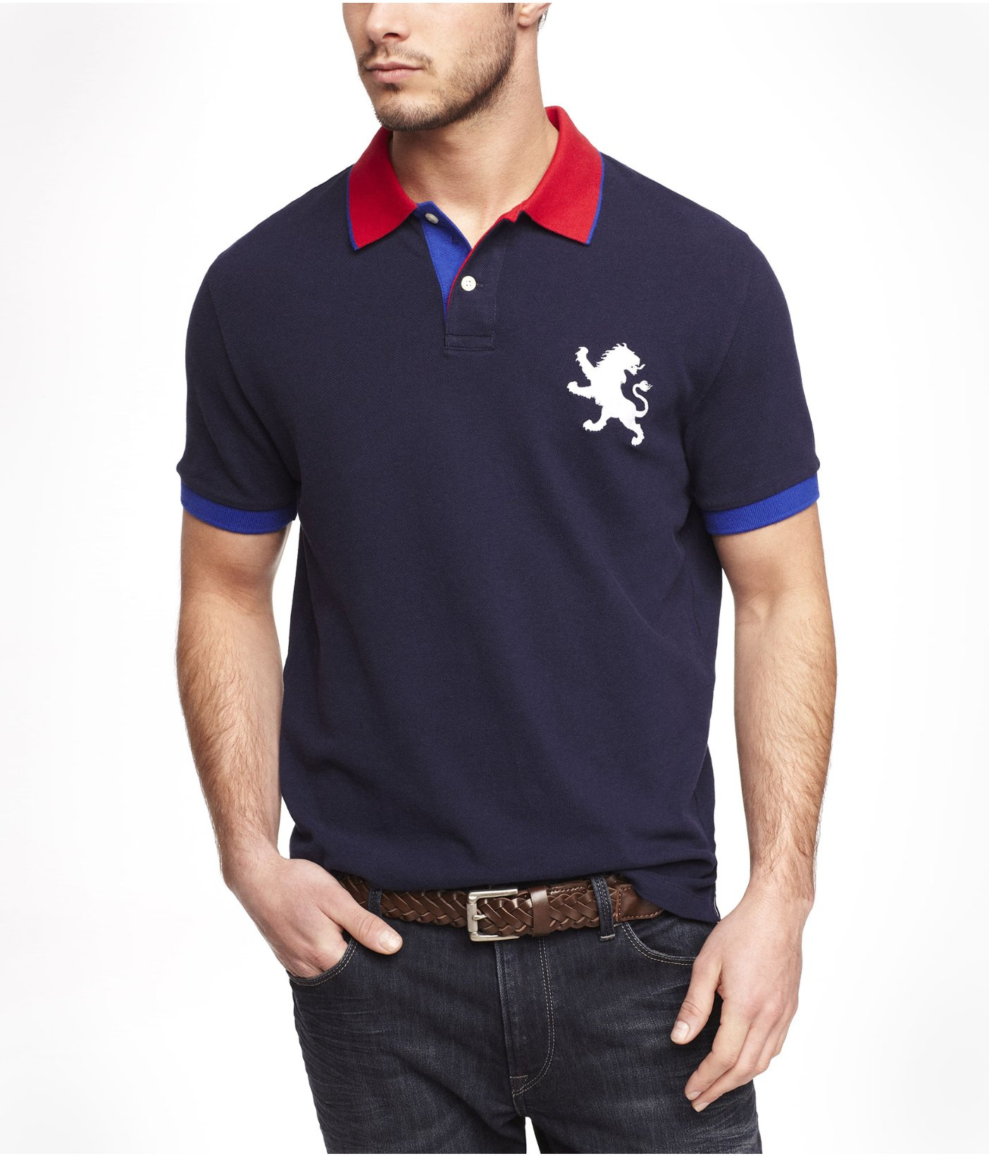 Express Color Tipped Large Lion Polo In Blue For Men Lyst