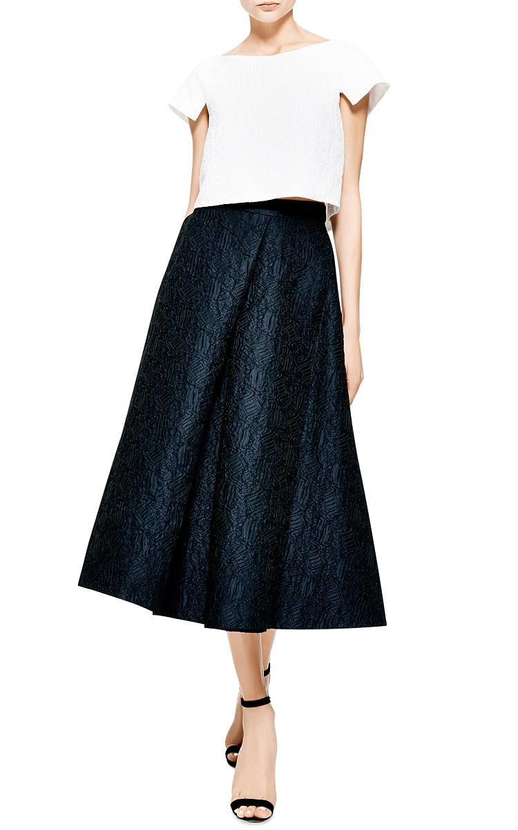 lhuillier pleated jacquard midi skirt in blue lyst