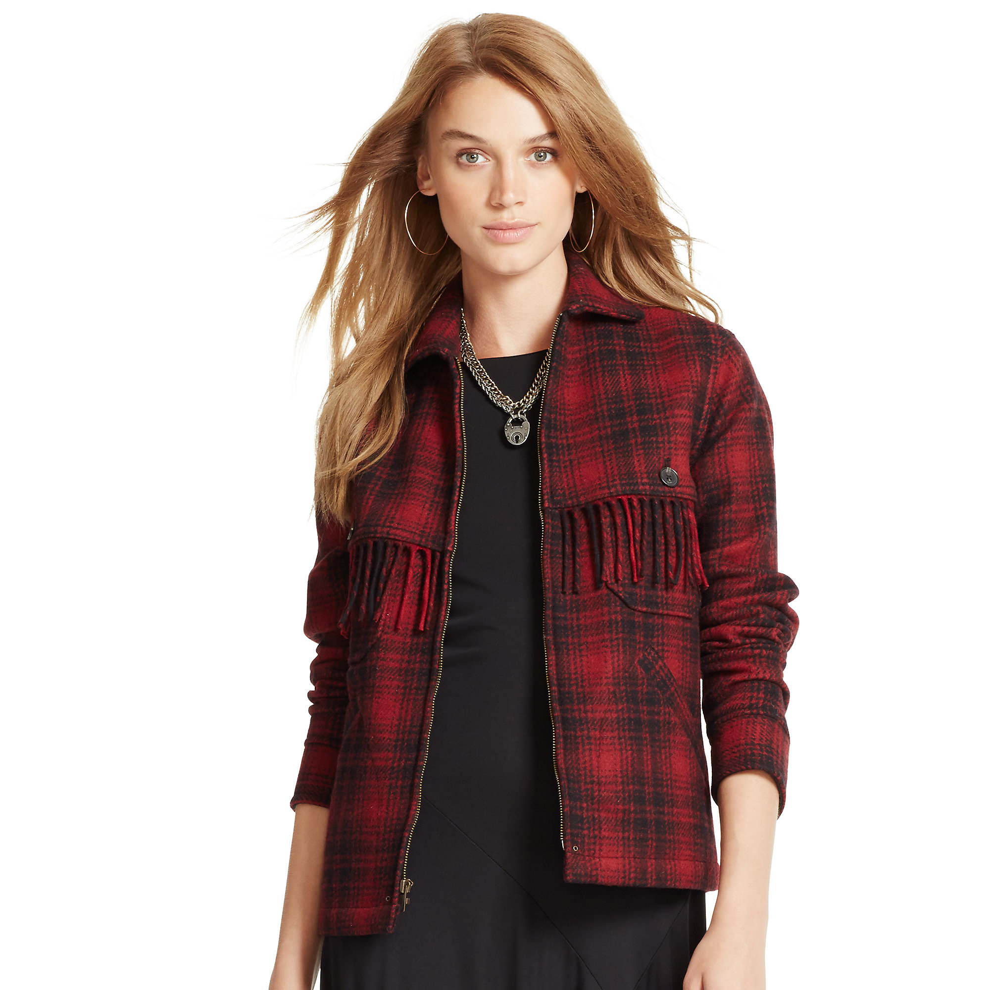 Polo ralph lauren Fringed Plaid Wool Jacket in Red | Lyst