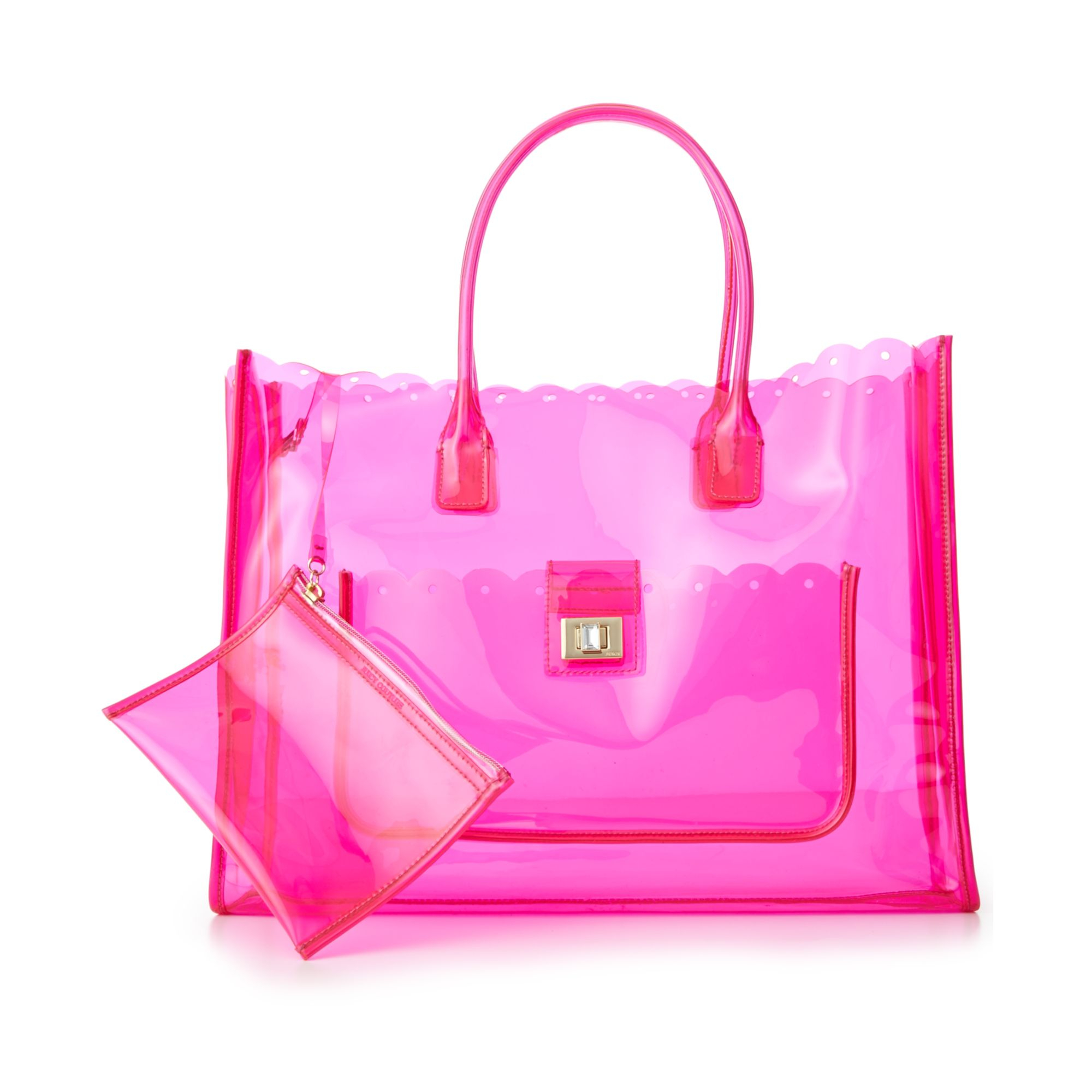 juicy couture silverlake clear beach tote in pink lyst. Black Bedroom Furniture Sets. Home Design Ideas