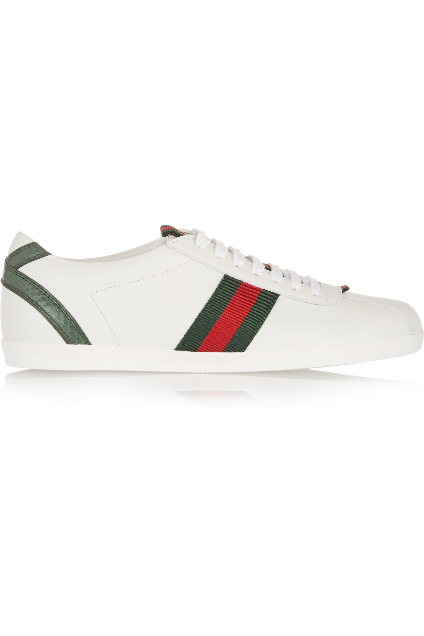 e5af59a5eba Lyst - Gucci New Ace Watersnake-trimmed Leather Sneakers in White