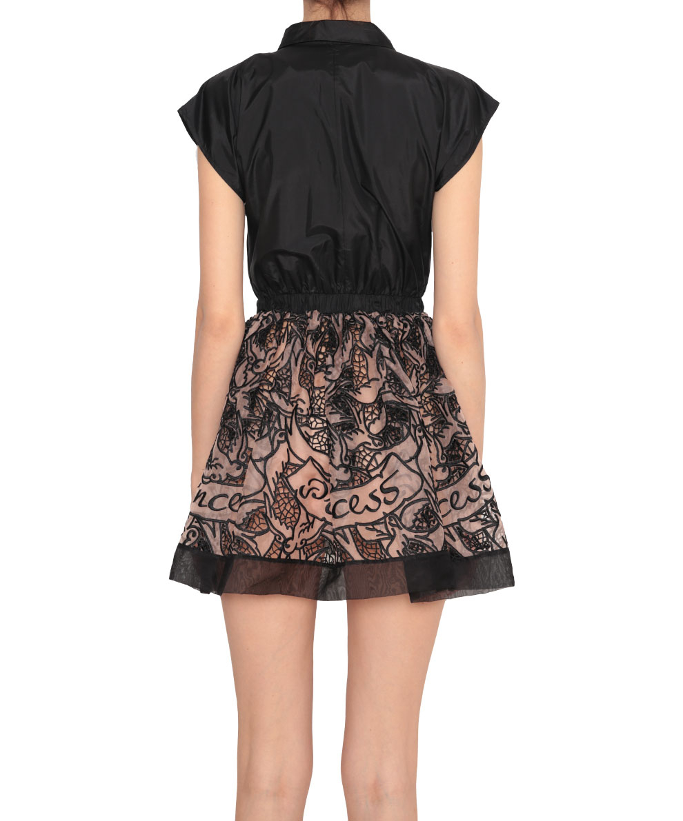 Red valentino silk and organza dress with cut out