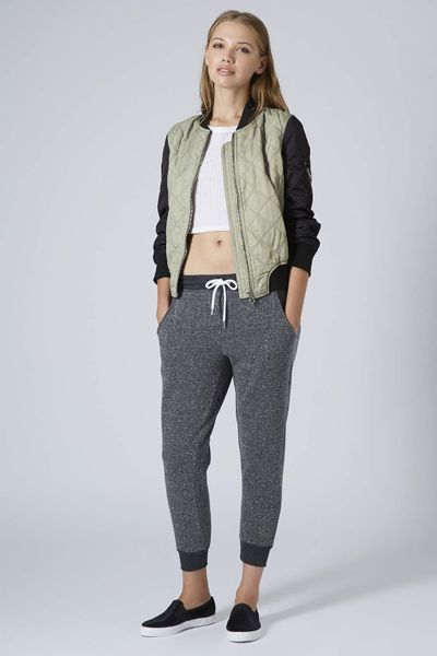 Topshop Quilted Contrast Bomber Jacket In Khaki Lyst