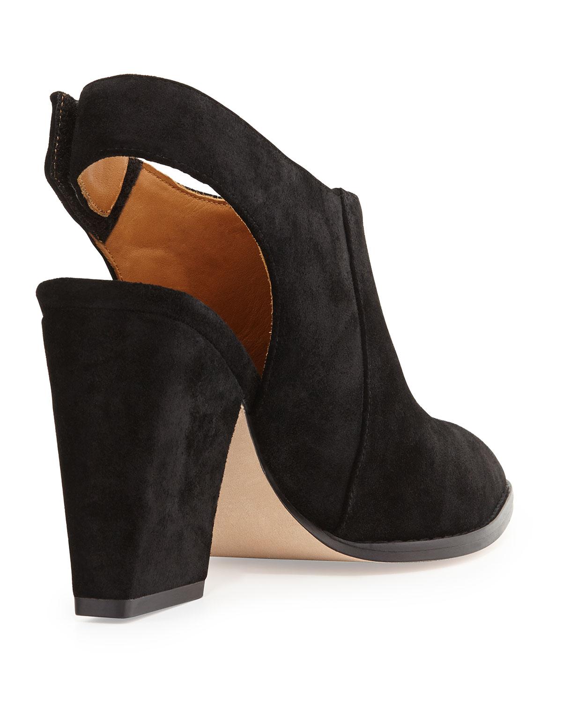 Bettye Muller Kat Suede Leather Slingback Bootie In Black