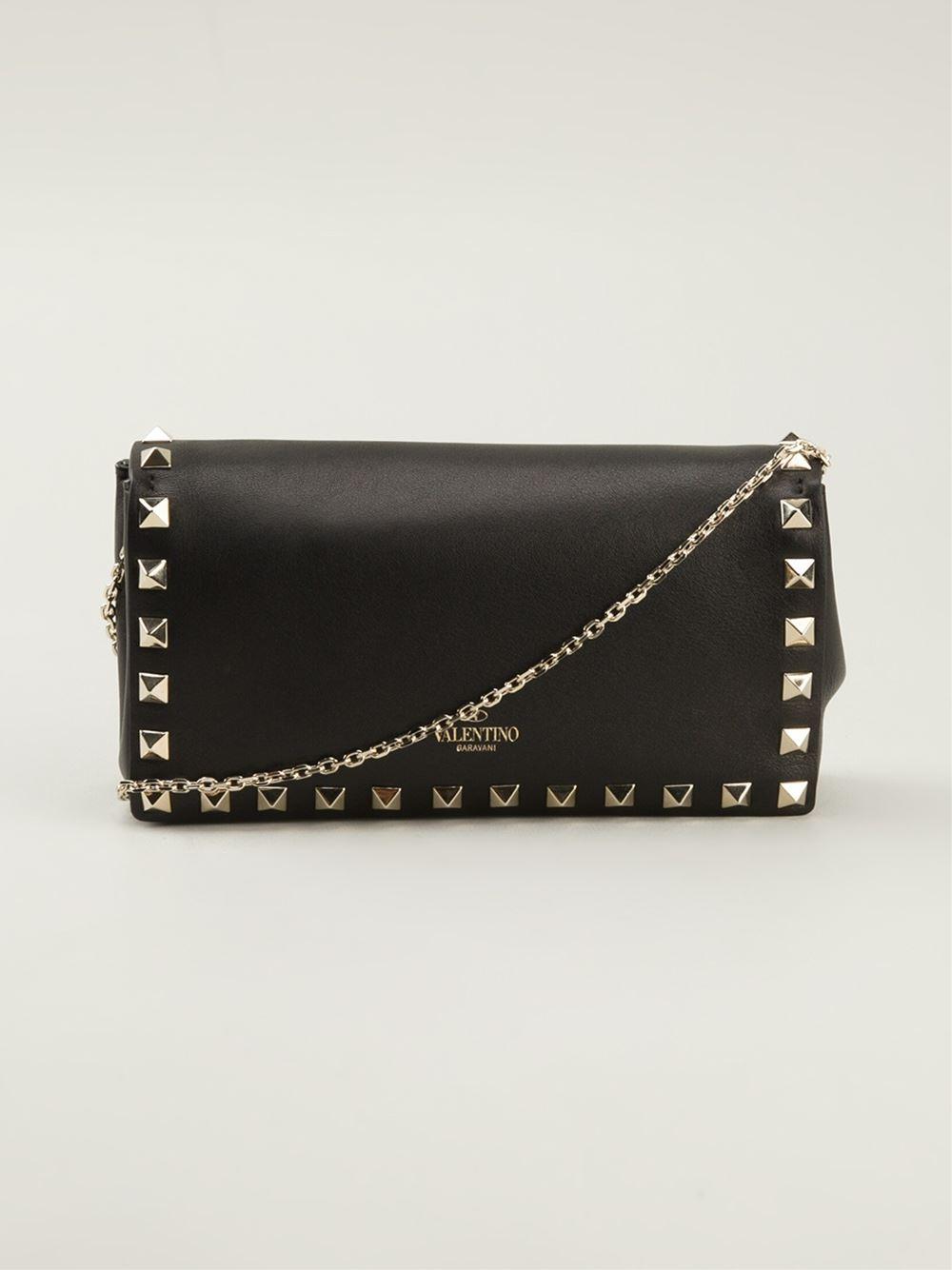 lyst valentino mini rockstud chain shoulder bag in black. Black Bedroom Furniture Sets. Home Design Ideas