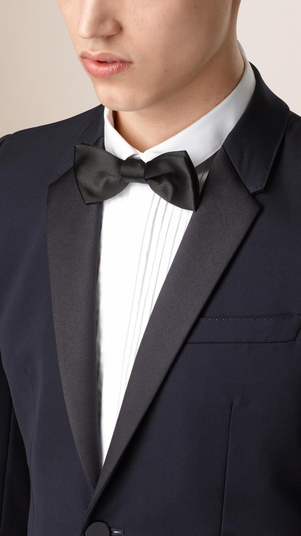 0b4c59960e9 Burberry Satin Lapel Virgin Wool Tuxedo Jacket in Blue for Men - Lyst