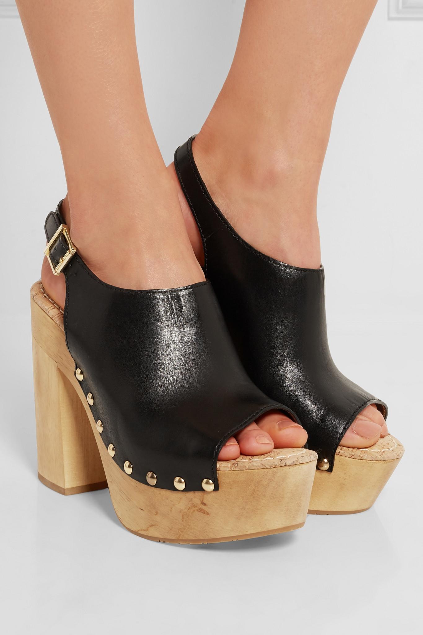 Sam Edelman Marley Leather Platform Clogs Black Lyst