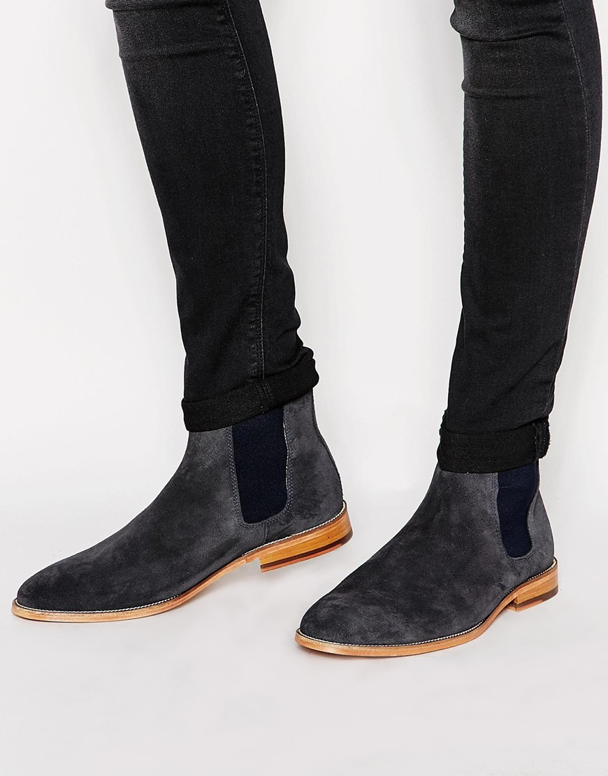 bobbies l horloger suede chelsea boots in gray for lyst