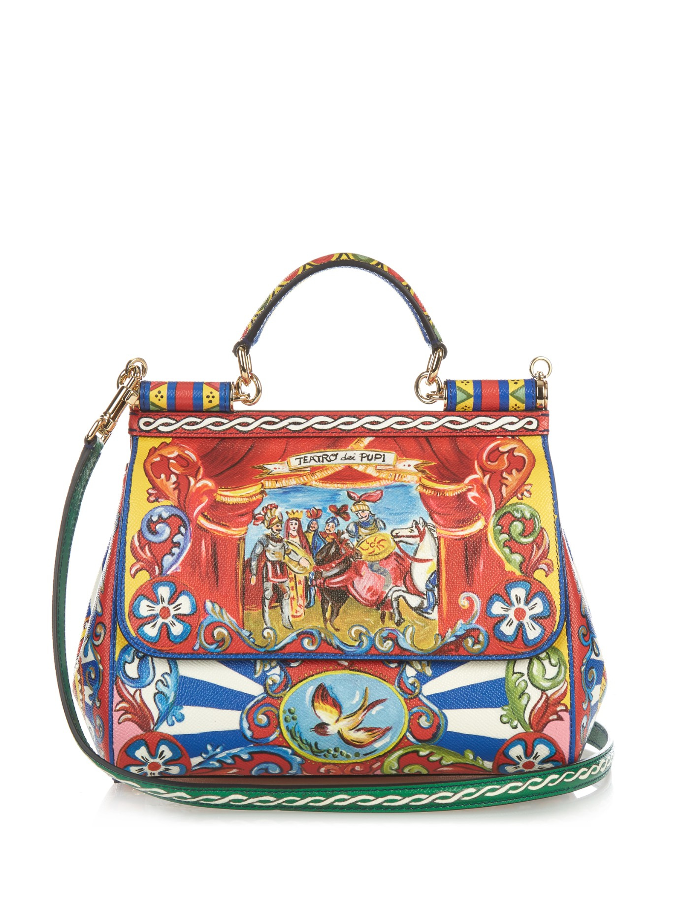 3115d1303844 Dolce   Gabbana Sicily Medium Carretto-print Leather Bag in Red - Lyst