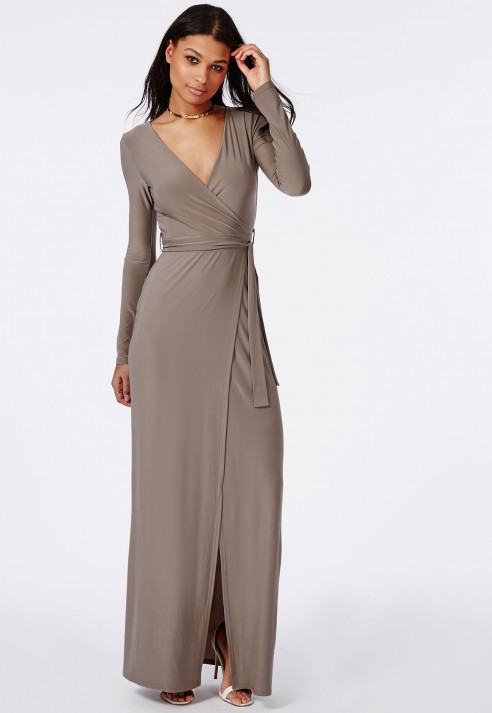 Missguided Slinky Wrap Front Maxi Dress Taupe in Brown | Lyst