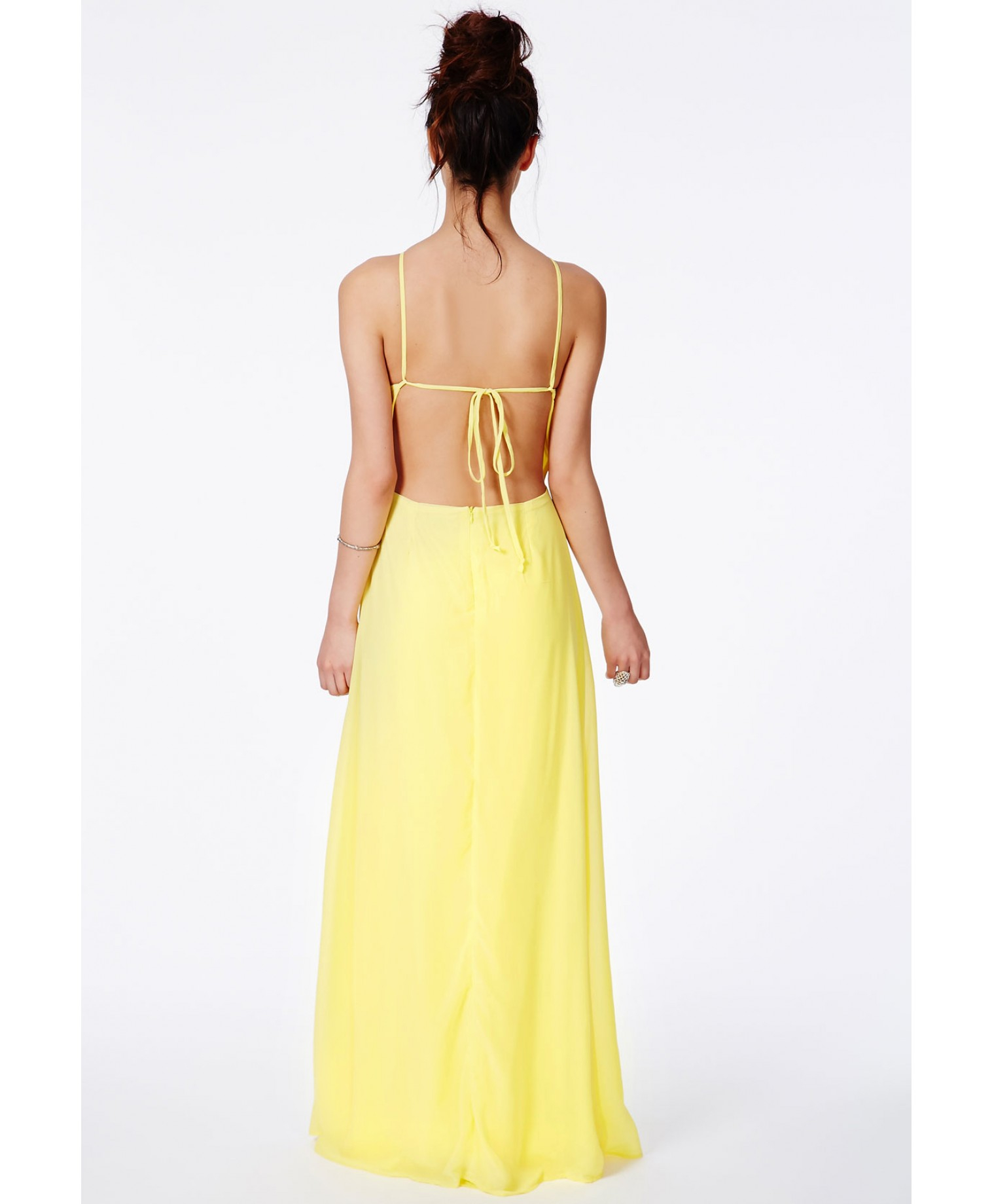 Missguided Pascaline Lemon High Neck Strappy Maxi Dress In