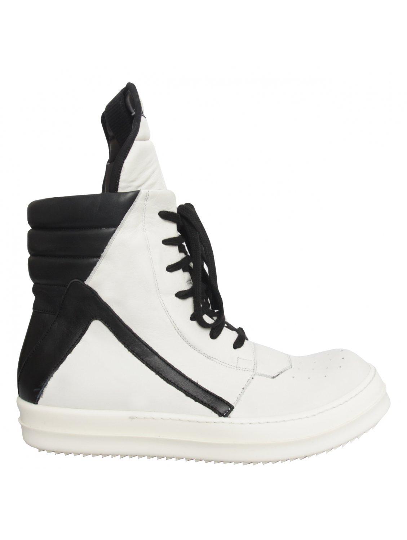 Rick Owens Geo Basket Boot Off White Black In White Lyst