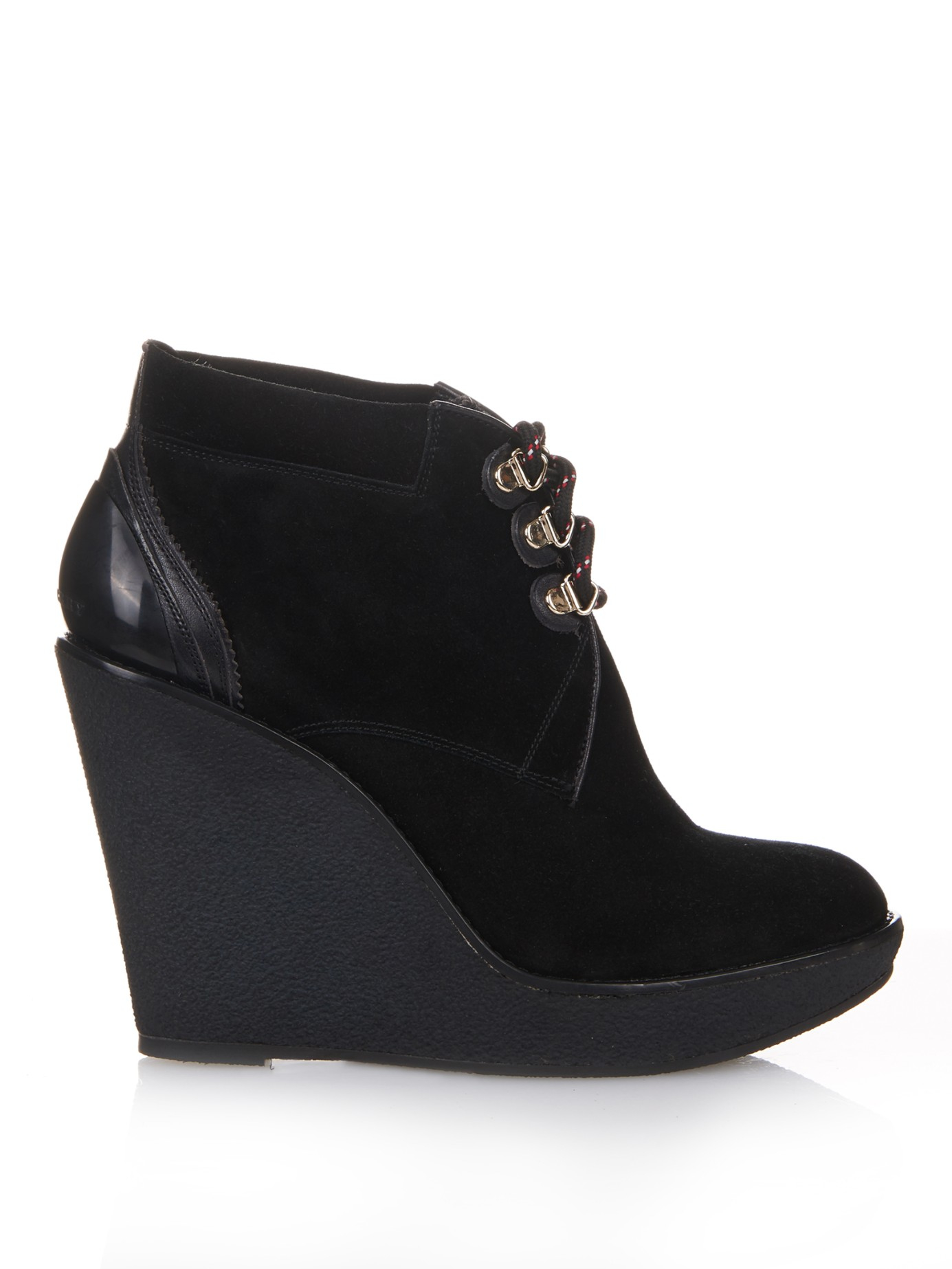 burberry suede and leather wedge boots in black lyst
