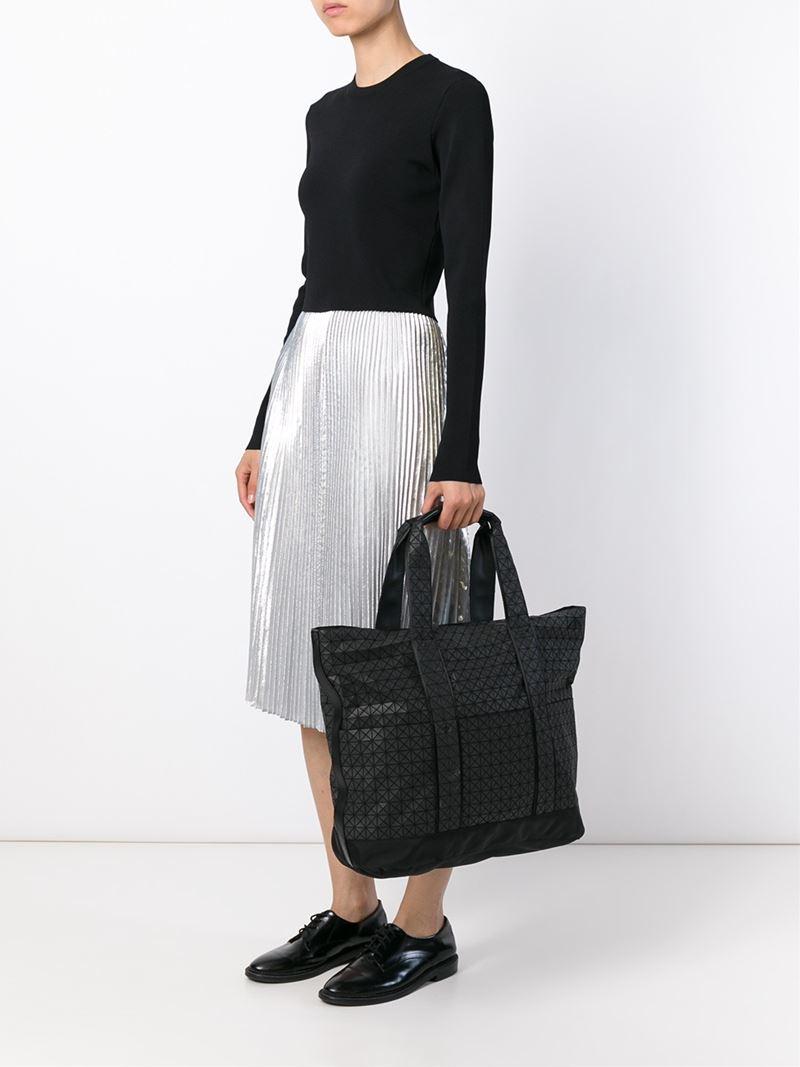 Bao Bao Issey Miyake Cotton Large Geometric Tote in Black