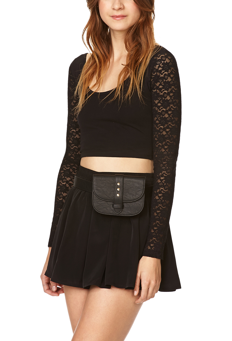 Lyst Forever 21 Funky Faux Leather Fanny Pack In Black