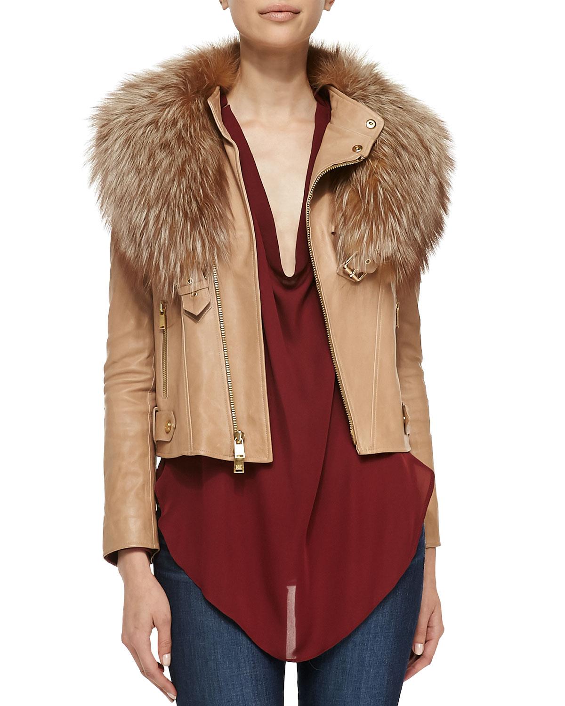 Haute Hippie Leather Fur Collar Jacket In Beige For Men -4356