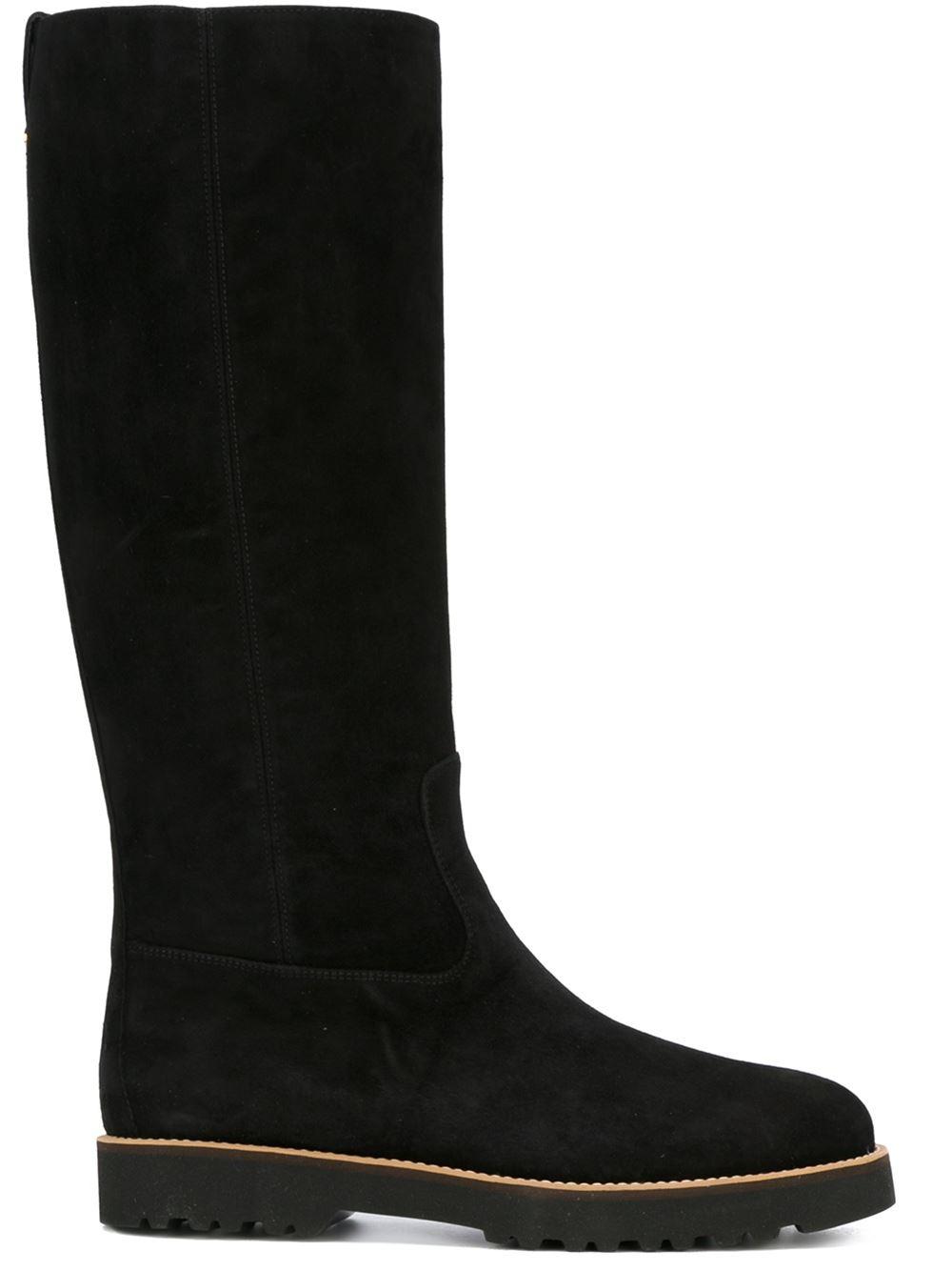 flat mid calf boots in black lyst