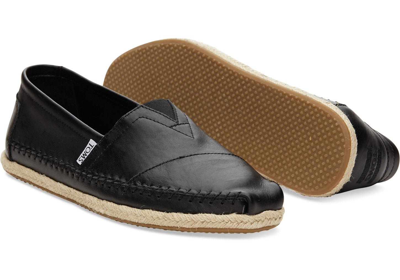 TOMS Black Full Grain Leather Men's