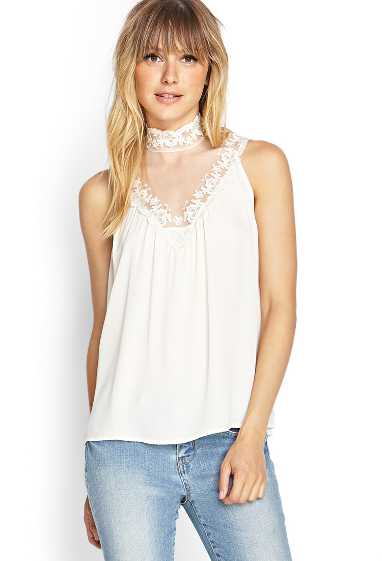 Forever 21 Contemporary High-neck Lace Top In White