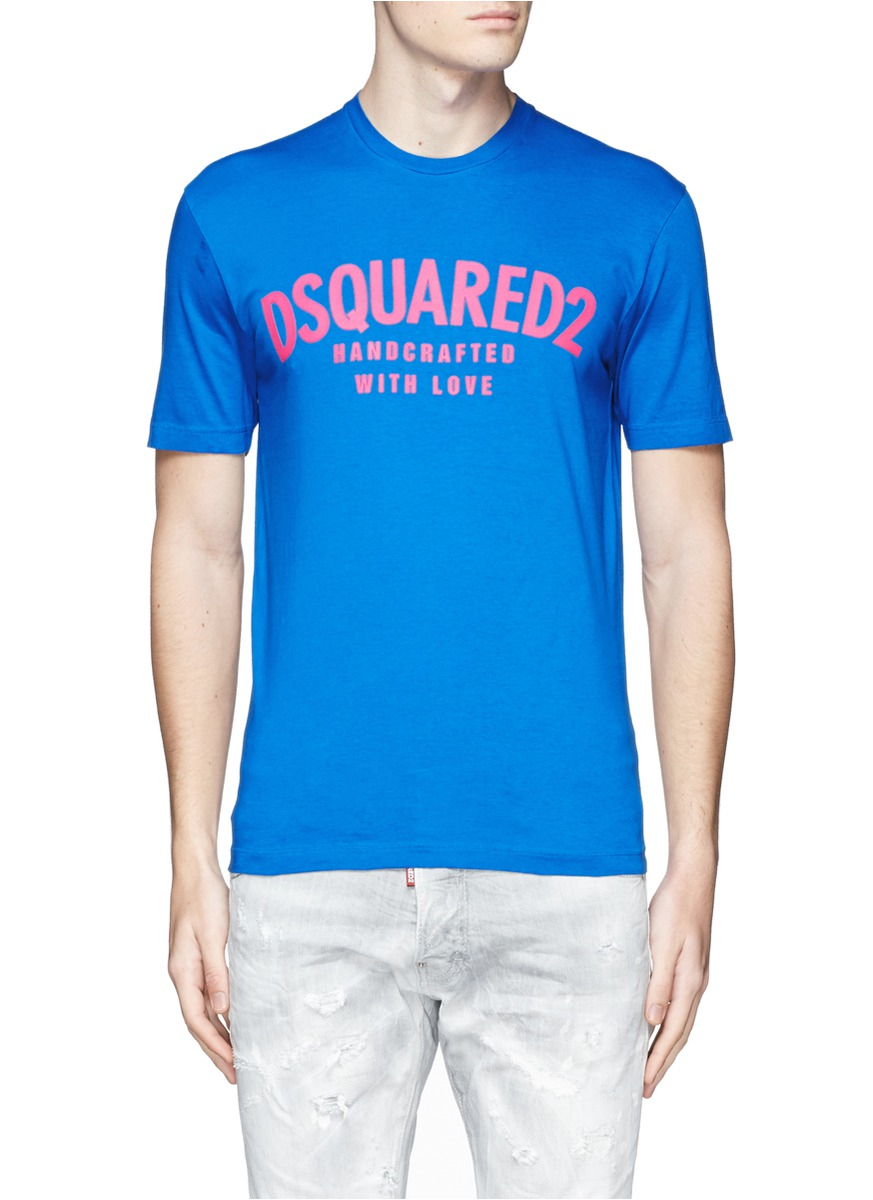 Lyst dsquared logo print t shirt in blue for men for Logo print t shirt