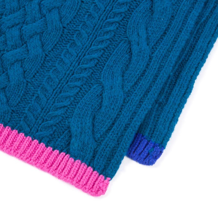 Knitting Patterns Cashmere Wool : Paul smith Womens Petrol Mixed Cable-knit Wool-cashmere Scarf in Blue (p...