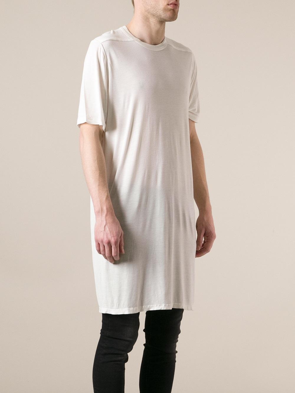 lyst rick owens long tshirt in white for men. Black Bedroom Furniture Sets. Home Design Ideas