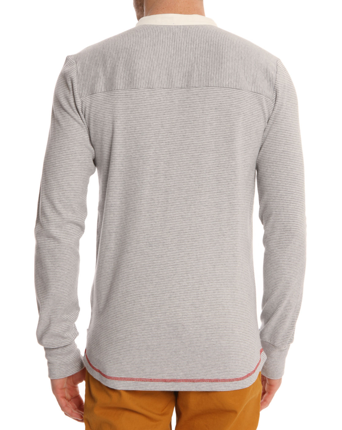knowledge cotton apparel henley 2 longsleeved grey striped tshirt in gray for men grey lyst. Black Bedroom Furniture Sets. Home Design Ideas
